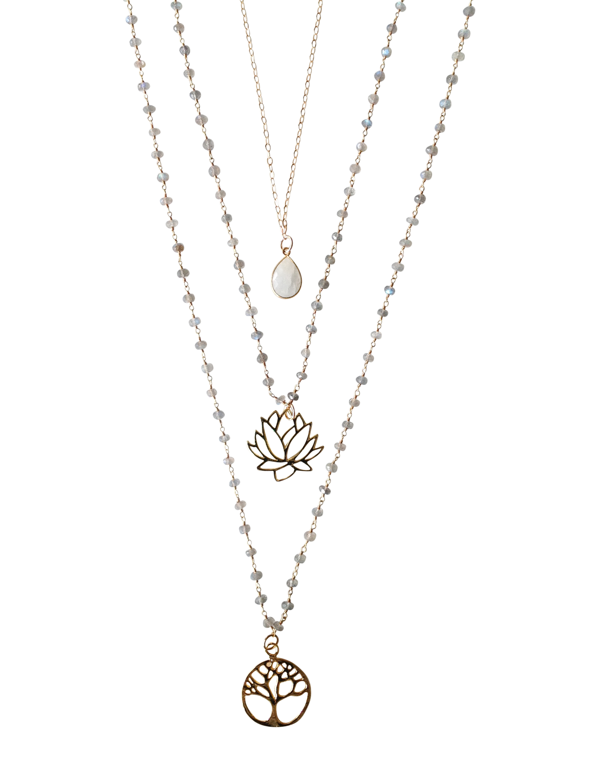 Layers of love meaning three meaningful necklaces involving the interconnections of all life and the lotus flower rising and blooming to achieve enlightenment izmirmasajfo